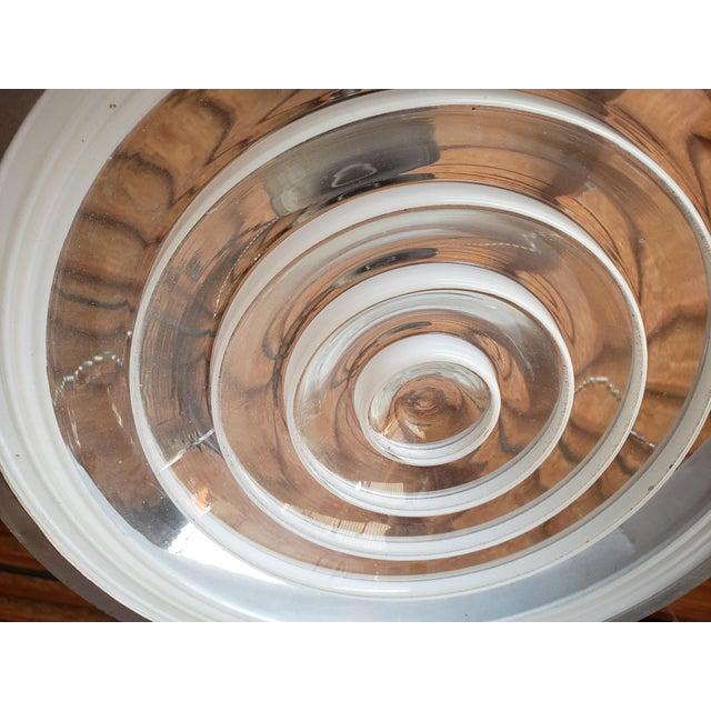 Art Deco Aluminum Dish Pendants W/ Unique Glass Diffusers (2 Pairs Available) For Sale - Image 12 of 13