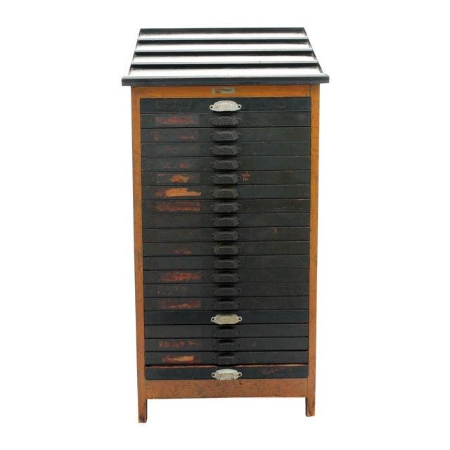 Antique 20-Drawer Letterpress Cabinet & Wood Type - Image 1 of 9