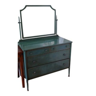 Simmons Industrial Dresser With Original Painted Steel, Mirror and Pinstripping, Circa 1930s. For Sale