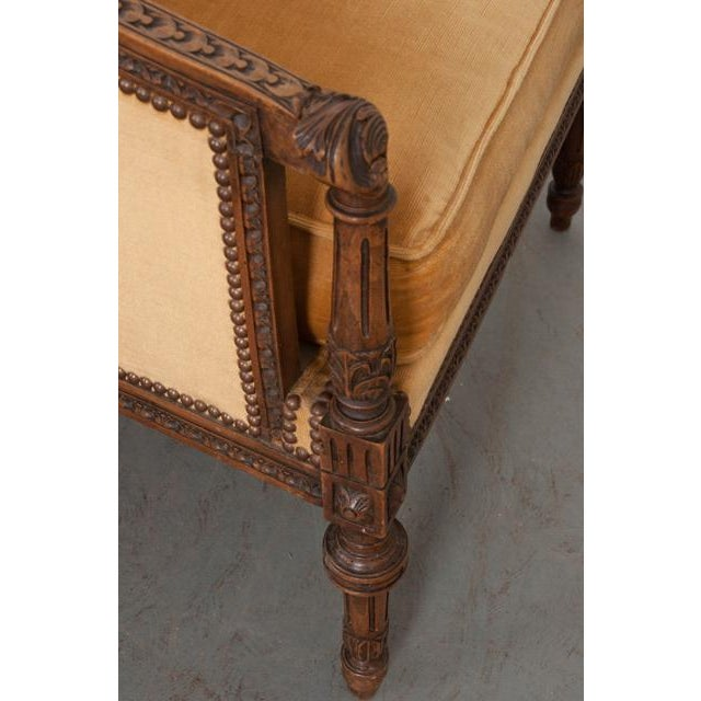 French 19th Century Louis XVI Carved Walnut Bergères - a Pair For Sale - Image 10 of 12