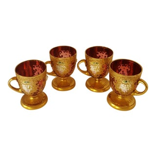 Cranberry & Golden Bohemian Cups - Set of 4