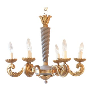 French Rococo Iron Chandelier For Sale