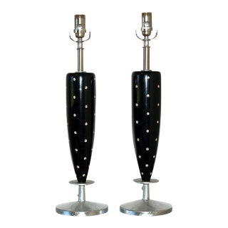 Rembrandt Rhinestone Wood Table Lamps For Sale
