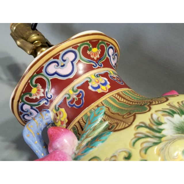 1960s Vintage Famille Rose Floral Chinese Table Lamp With Peaches For Sale - Image 4 of 12