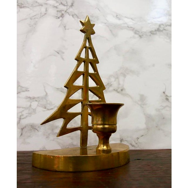Vintage Brass Christmas Tree Taper Candle Holder - Image 3 of 4