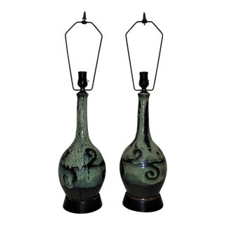 1960s Brutalist Pottery Table Lamps Mid Century Modern Green & Black Vintage - a Pair For Sale