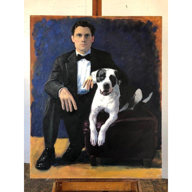 "Portraiture ""Paul and Ranger,"" Oil on Canvas by Paul Richard For Sale - Image 3 of 5"