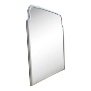 Vintage Modern White Painted Wall Mirror For Sale