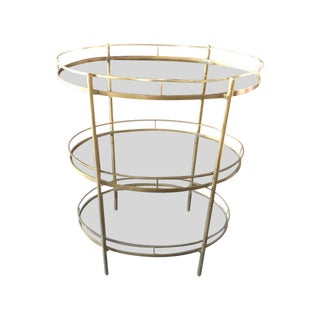 Mid-Century Brass and Glass Three Tier Bar Cart For Sale