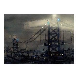 Fine Art Giclee Print Of Benjamin Franklin Bridge, Philadelphia For Sale