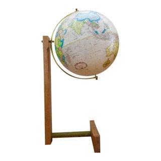 Vintage Mid-Century Modern Wood Brass Stand Globe
