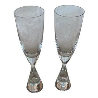 "Holmegaard Crystal ""Princess"" Champagne Glasses - Pair For Sale"