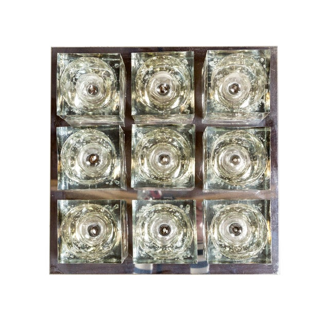 Lightolier Glass Blocks 9-Light Flush Mount For Sale