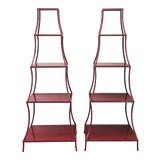 Image of 20th Century Chinese Red Pagoda Shelves - a Pair For Sale