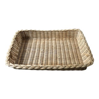 Mid 20th Century Natural Woven Wicker Rattan Tray With Handles For Sale