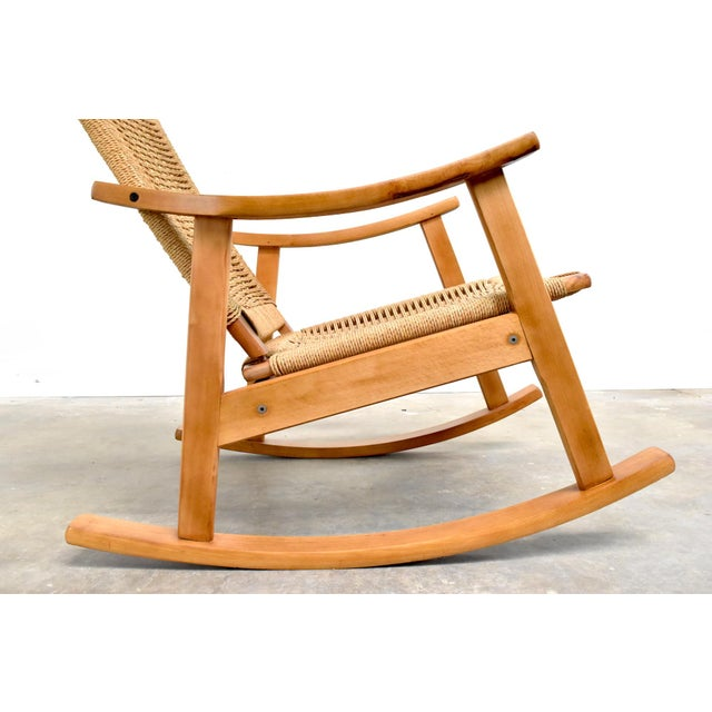 Wood Mid-Century Hans Wegner Style Rope Rocking Chair For Sale - Image 7 of 13