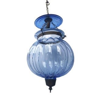 """Anglo Indian Style Blue Glass Lantern Ceiling Lamp 16"""" H For Sale"""
