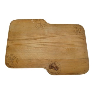 Kitchen Chopping Block Cheese Cutting Board Artisan Wood Pyrography For Sale