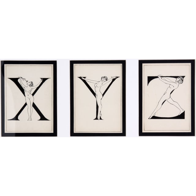 "Framed ""X, Y, Z"" Drawing, Circa 1920 - Image 2 of 4"