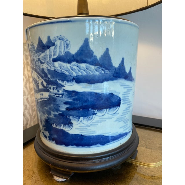 Antique Chinoiserie Delftware Lamp For Sale - Image 4 of 7