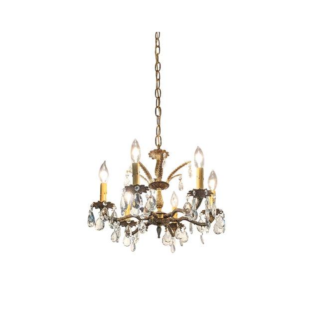 Hollywood Regency Ornate Solid Brass & Crystal Chandelier For Sale - Image 11 of 11