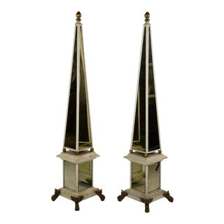 Antique Mirrored Floor-Standing Obelisks - a Pair For Sale