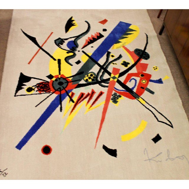 """Abstract Mid-Century Modern Abstract Rug Tapestry Inspired by Kandinsky Small Worlds - 5'11"""" x 9' For Sale - Image 3 of 8"""