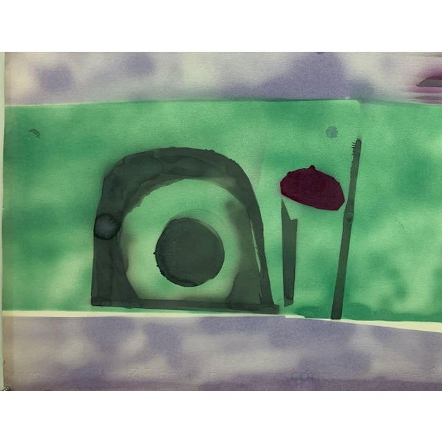 """Bearnice Fisher """"Purple Sky Landscape"""" 1978 Gouache on paper 30""""x22.5"""" unframed Signed and dated lower right in pencil..."""
