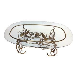 Italian Brass Tree & Bird Cocktail Table For Sale