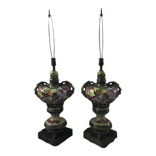 Early 20th Century Hand Painted Porcelain Lamps - a Pair For Sale
