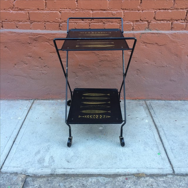 Fred Press Folding Bar Cart with Fish - Image 8 of 8