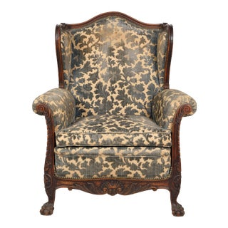 Late 19th-C. French Bergere With Floral Upholstery For Sale