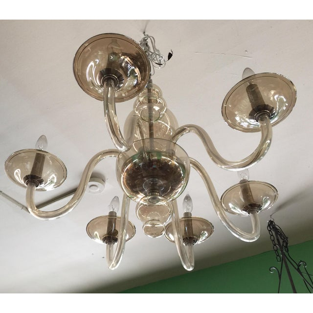 Glass Italian Smoked Glass Chandelier 6 Light For Sale - Image 7 of 7