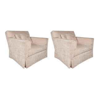 Pair of Luxurious Modernist Swivel Club Chairs in Pearl Corduroy Upholstery