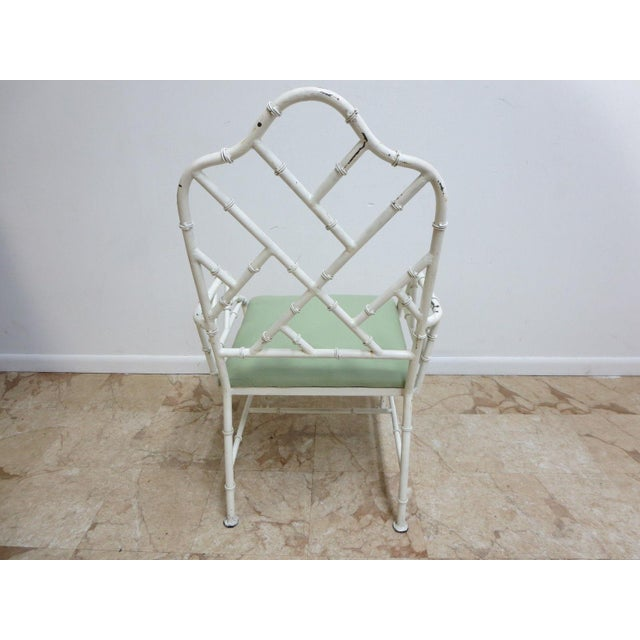 Vintage Metal Faux Bamboo Arm Chair For Sale - Image 4 of 10