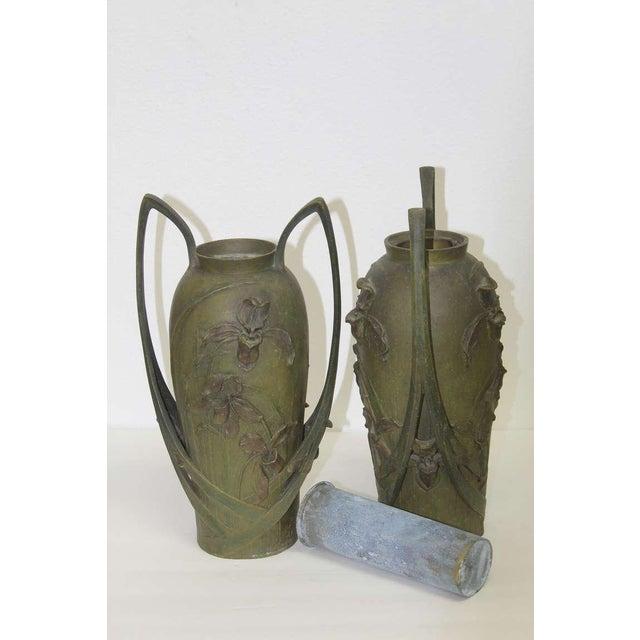 Pair of Art Nouveau Iris Vases by Blanche Poccard De Saintilau, 1902 For Sale - Image 9 of 11