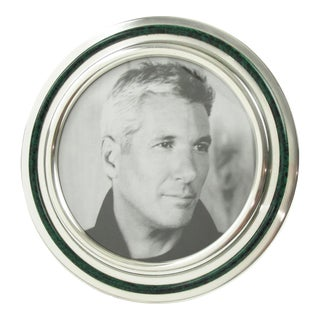 Italian Silver Plate and Green Enamel Round Picture Frame For Sale