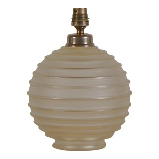 Elegant Art Deco Ribbed Glass Table Lamp by George Leleu For Sale