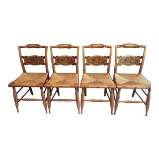L. Hitchcock Rush Side Chairs - Set of 4 For Sale