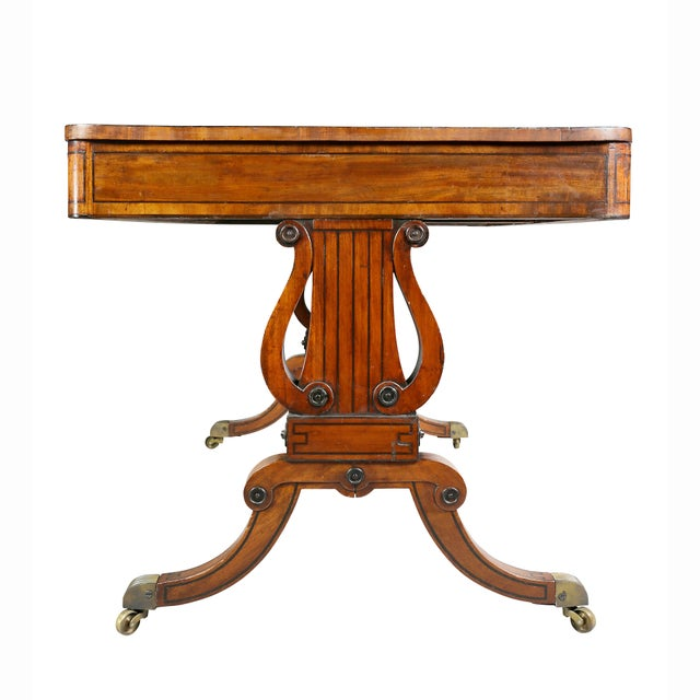 Fine Regency Mahogany and Ebony Inlaid Writing Table For Sale - Image 11 of 13