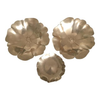 Set of 3 Vintage Brass Lotus Decorative Sculptural Bowls For Sale