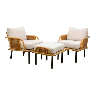 Unique Modern Rattan and Cane Lounge/Club Chairs by Ficks Reed