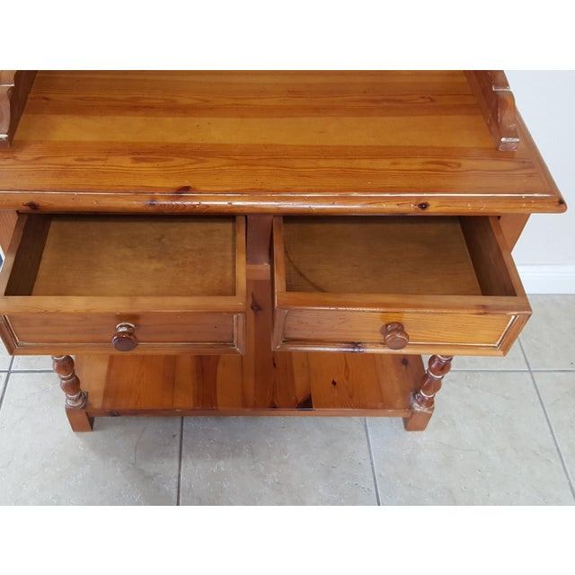 Brown Rustic Style Pine China Hutch Sideboard With Spindles - 2 Pieces For Sale - Image 8 of 12