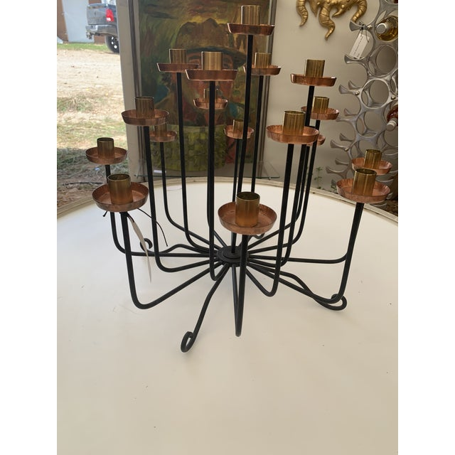 Mid-Century Modern 1950s Mid Century Copper Brass and Iron Candle Holder Centerpiece For Sale - Image 3 of 7