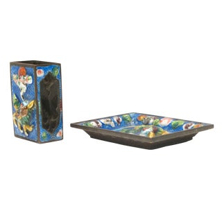 Colorful Blue Chinese Enamel Smoking Set - A Pair