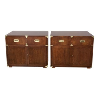 Henredon Campaign Bachelor Chests-a Pair For Sale