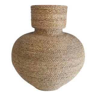 Woven Raffia Wrapped Vase