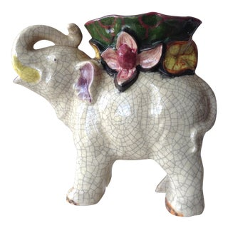 Japanese Ceramic Crackle Elephant Planter For Sale