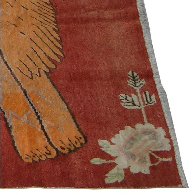 Extremely fine vintage Uzbek Samarkand rug with lion design from early-19th century. Handmade and hand-knotted. Features...