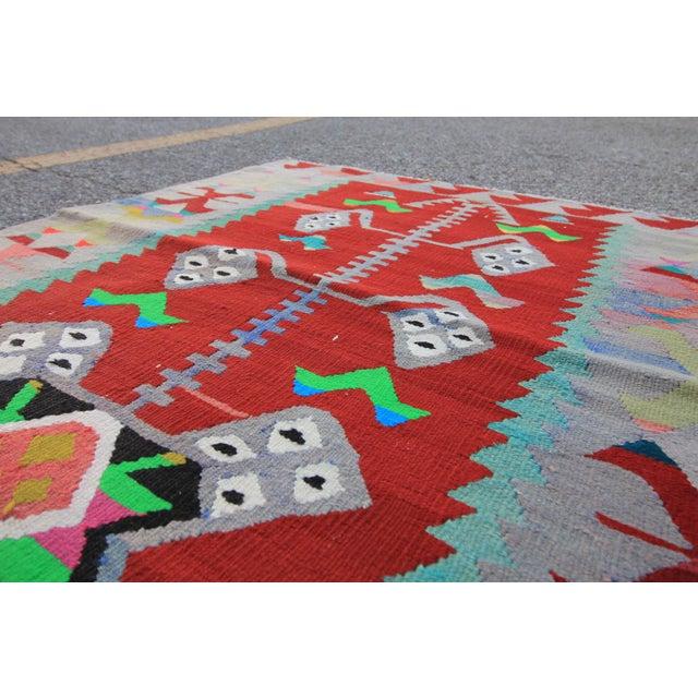 "Vintage Turkish Tribal Oushak Handmade Flatwoven Kilim Rug - 2'10"" X 3'2"" - Image 4 of 5"
